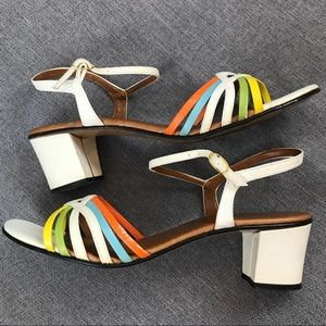 Vintage Candy Colored Mod White Chunky Sandals